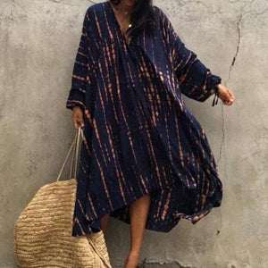 Toes in the Sand Tie Dye Caftan Dress-Navy-S-