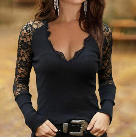 Total Keeper Black Lace Top-Black-S-