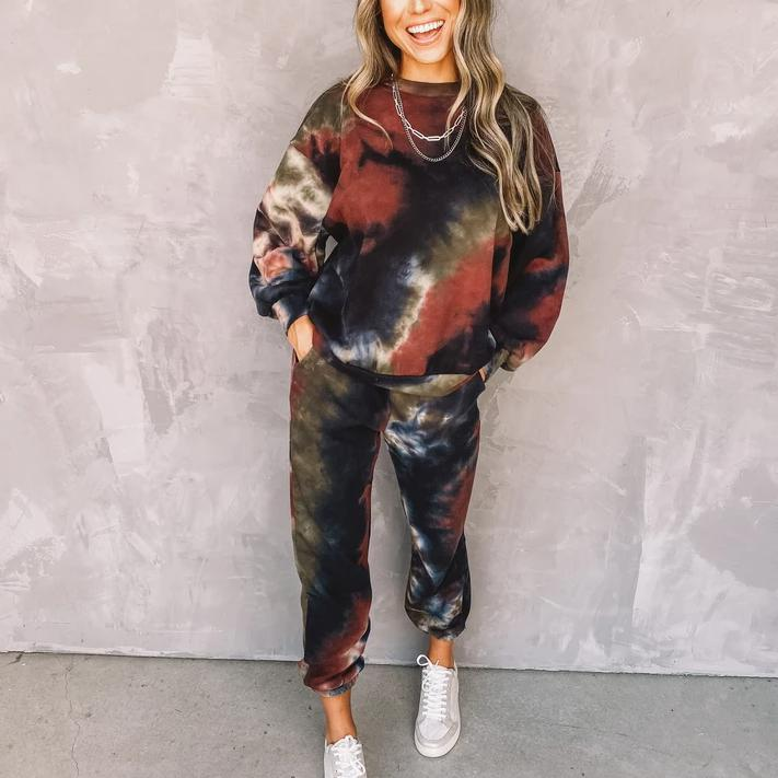 Total Obsession Tie Dye Jogger Set-Multicolor-S-