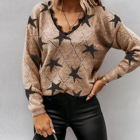 Total Standout Star Print Sweater-Brown-S-