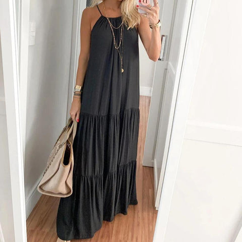 Treasure Hunt Black Maxi Dress-BLACK-S-