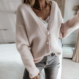 Trendy Plain Long Sleeve Cardigan-Apricot-S-