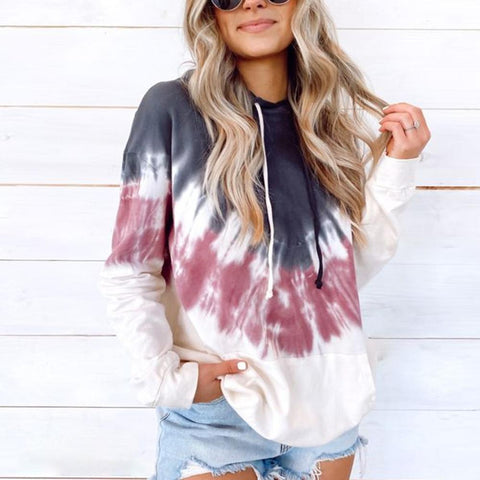 Trendy Tie-Dye Long Sleeve Top-Multicolor-S-
