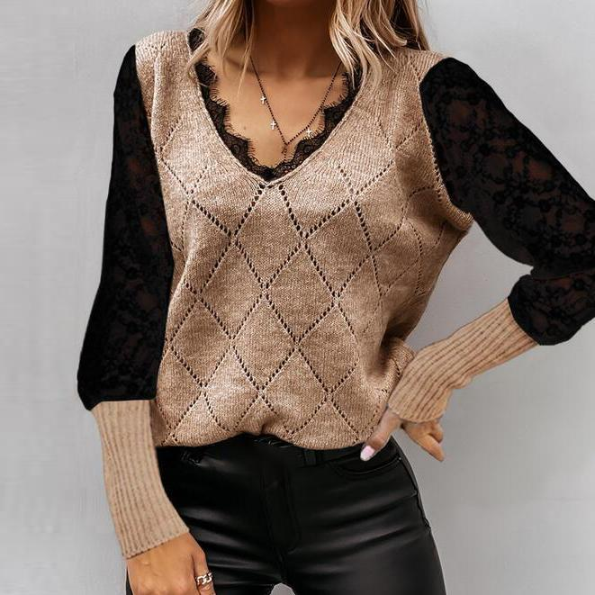 True Beauty Two Tone Sweater-Coffee-S-