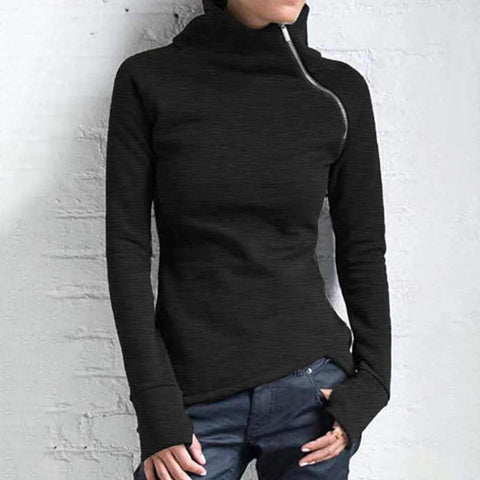 Unique Black Zipper High Neck Long Sleeve Slim Fitted Top-Black-S-