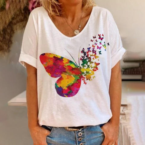 Unique Butterfly Printed V-Neck Casual T-Shirt-White-S-