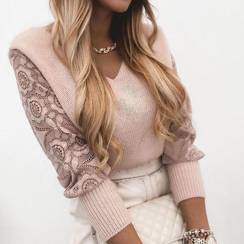 Unique Lace Long Sleeve V-Neck Sweater Top-Pink-S-