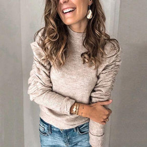 Unique Mock Neck Gathered Long Sleeve Sweater-Apricot-S-