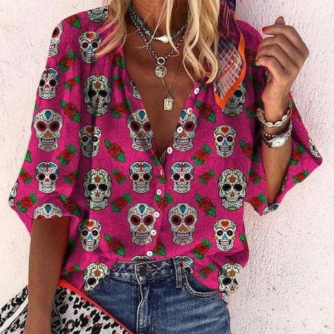 Unique Skull Printed V-Neck Long Sleeve Shirt-Rose Red-S-