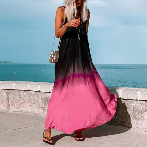 Unique V-Neck Sleeveless Color Block Maxi Dress-Rose Red-S-