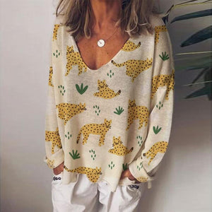 V-Neck Long Sleeve Cute Animal Printed Top-Yellow-S-