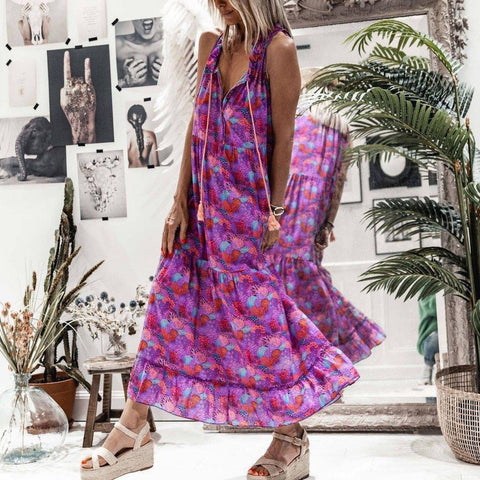 Vacation Flowing Ditsy Floral Printed Maxi Dress-Purple-S-