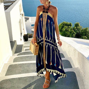 Vacation Halter Boho Print Sleeveless Maxi Dress-Navy-S-