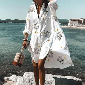 Vacation Long Sleeve Loose High Low Dress-White-S-
