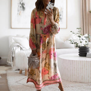 Vacation Style Long Sleeve Print Maxi Dress-Multicolor-S-