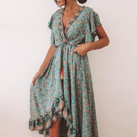 Vintage Elegant V-Neck Slim Fit Printed Vacation Dress-Green-S-