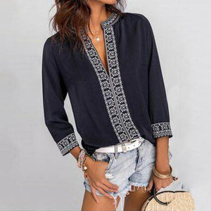 Vintage Ethnic Style Printed V-Neck 3/4 Sleeve Loose Blouse-Navy-S-
