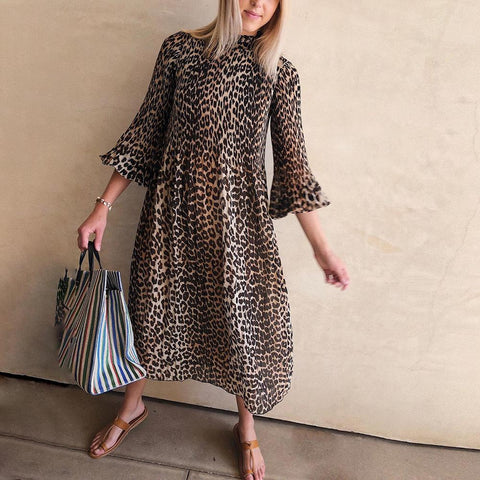 Vintage Leopard Printed Round Neck Bell Sleeve Loose Midi Dress-Leopard-S-