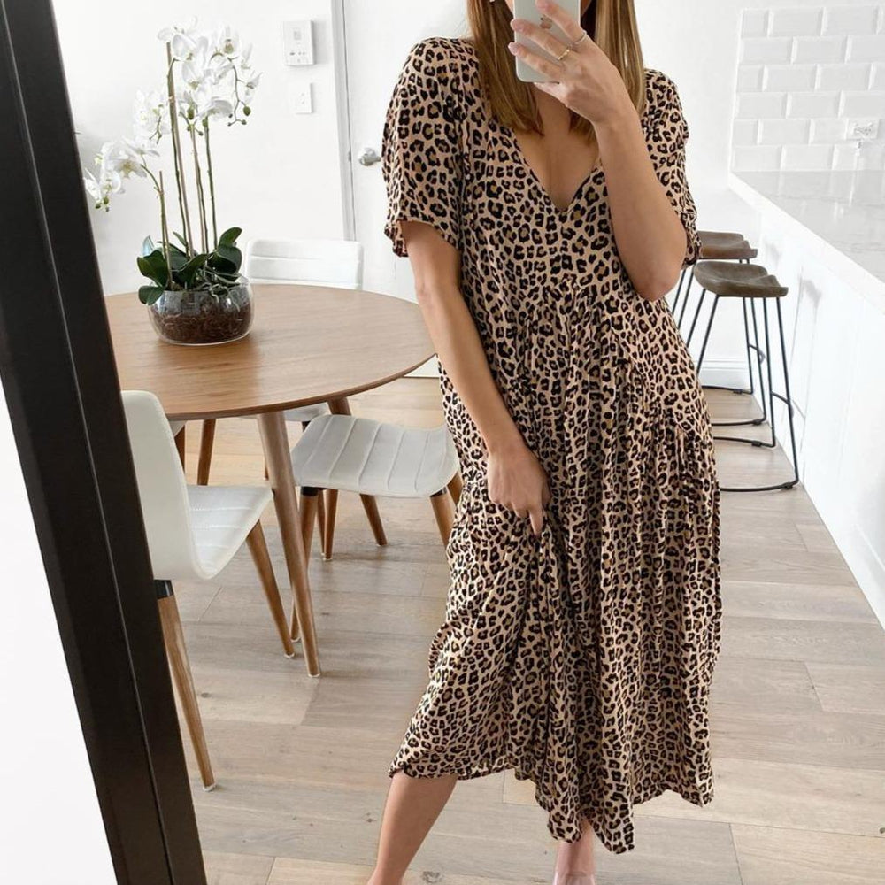 Vintage Leopard Printed V-Neck Short Sleeve Midi Dress-Leopard-S-