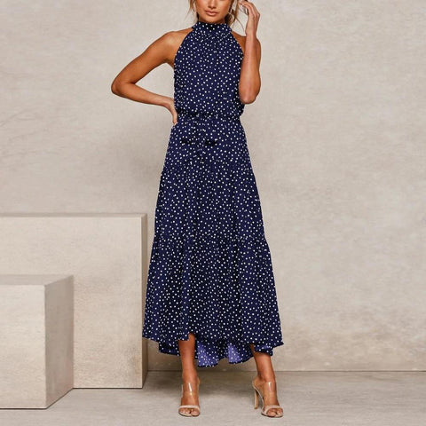 Vintage Printed Round Neck Sleeveless Slim Fit Maxi Dress-NAVY-S-