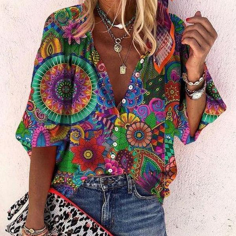 Vintage Puff Sleeve Print Blouse-Green-S-