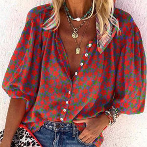 Vintage Red Floral V-Neck Loose Blouse-Red-S-