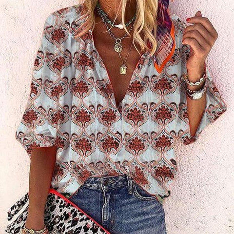 Vintage Red Printed V-Neck Vacation Blouse-Red-S-