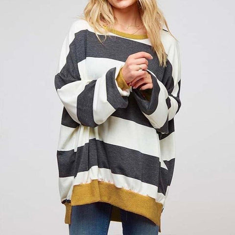 Vintage Striped Print Long Sleeve Tee-Grey-S-