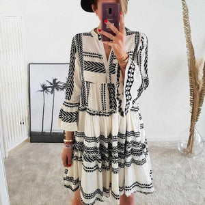 Vintage Three-Color Print 3/4 Sleeve Mini Dress-WHITE-S-