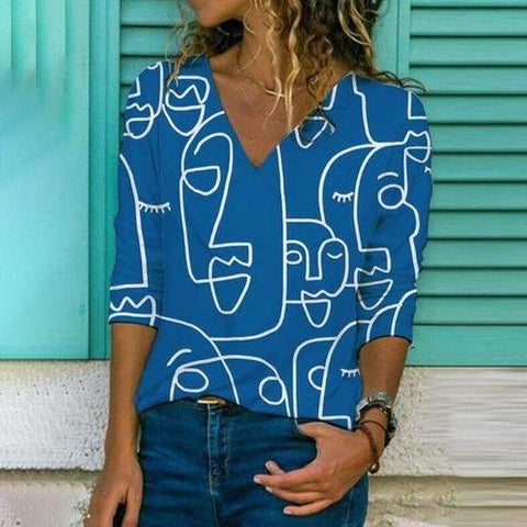 Vintage V-Neck Print Long Sleeve Tee-Blue-S-