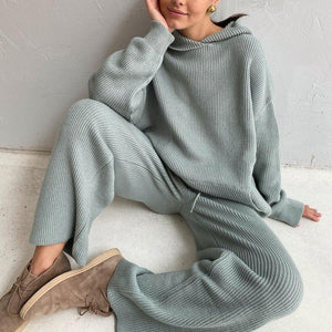 What You Wish For Knit Loungewear Set-Blue-S-