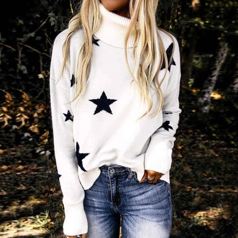 White Long Sleeve Jacquard Sweater-White-S-