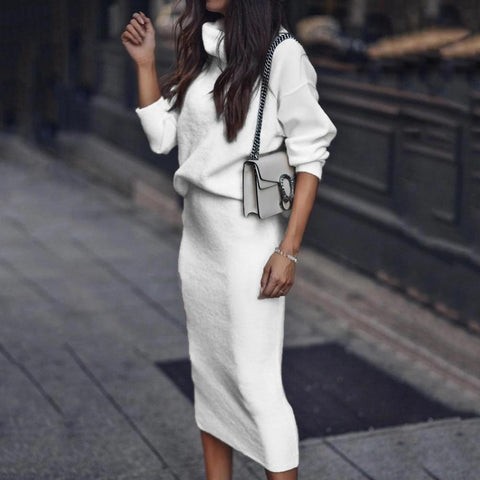 White Long Sleeve Turtle Neck Casual Two-Piece Dress-WHITE-S-