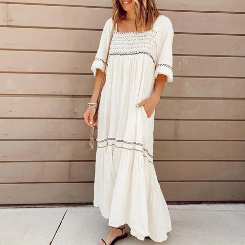 White Square Neck Short Sleeve Loose Printed Pleated Dress-White-S-