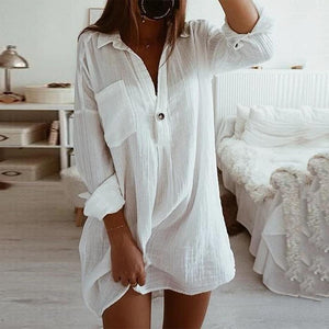 White V-Neck Pocket Detail Long Sleeve Chic Shirt Dress-White-S-