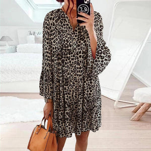 Wild Leopard Printed Bell Sleeve Mini Dress-Leopard-S-