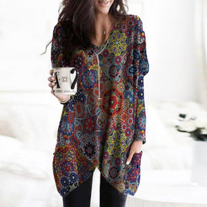 World of Magic Printed Pocket Tunic-Multicolor-S-