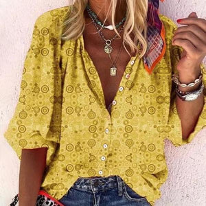 Yellow V-Neck Button 3/4 Sleeve Top-Yellow-S-