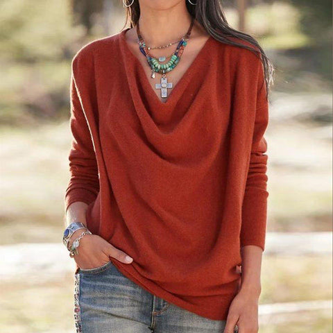 You're Getting Warmer Cowl Neck Top-Red-S-