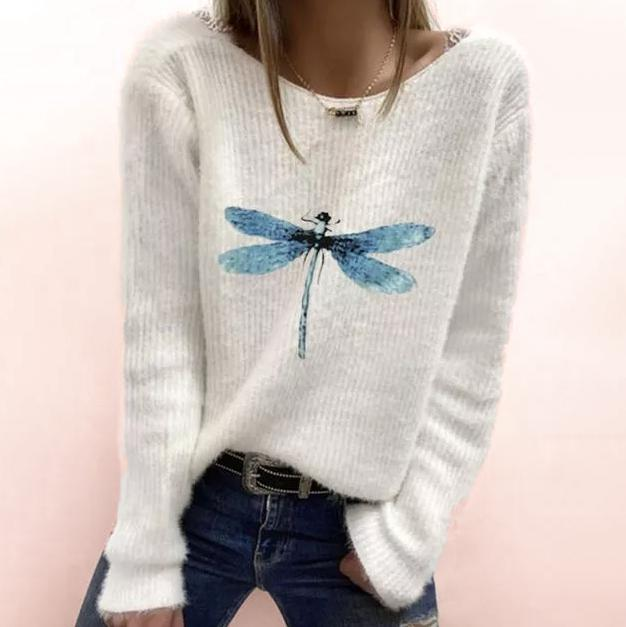 Youthful Blue Dragonfly Print Long Sleeve White Sweater-White-S-