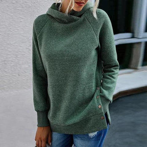 Youthful Plain Long Sleeve Hoodie-Green-S-