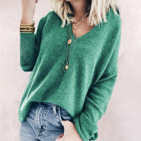 Youthful V-Neck Long Sleeve Sweater-Green-S-
