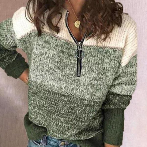 Youthful Zipper Color Block Sweater-Green-S-