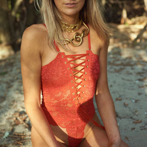 Reversible Spinster Bodysuit in Red