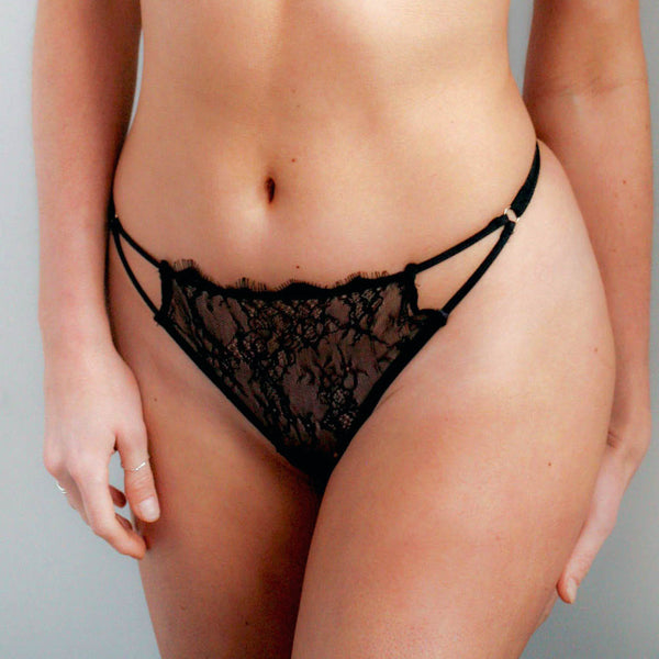 Lyra Lace Thong in Rose Dust or Black