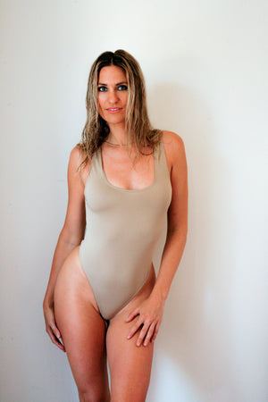 Hanna Thong Bodysuit in Nude (Size L)