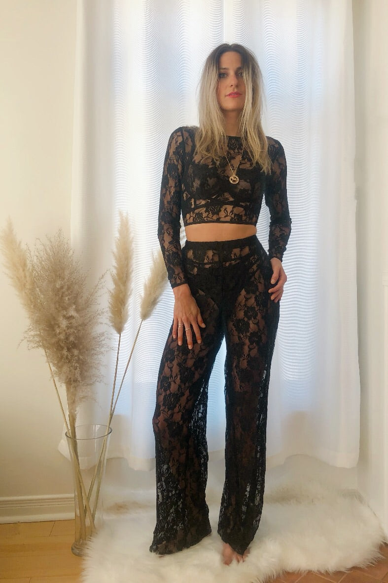 Eternal Rose Sheer Lace Trousers