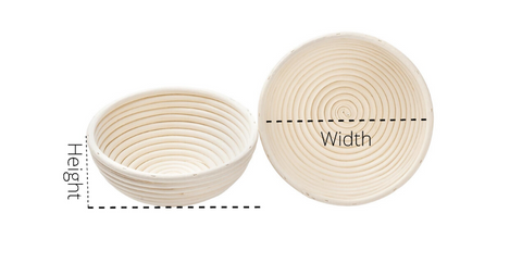 round banneton bread proofing basket with measurement
