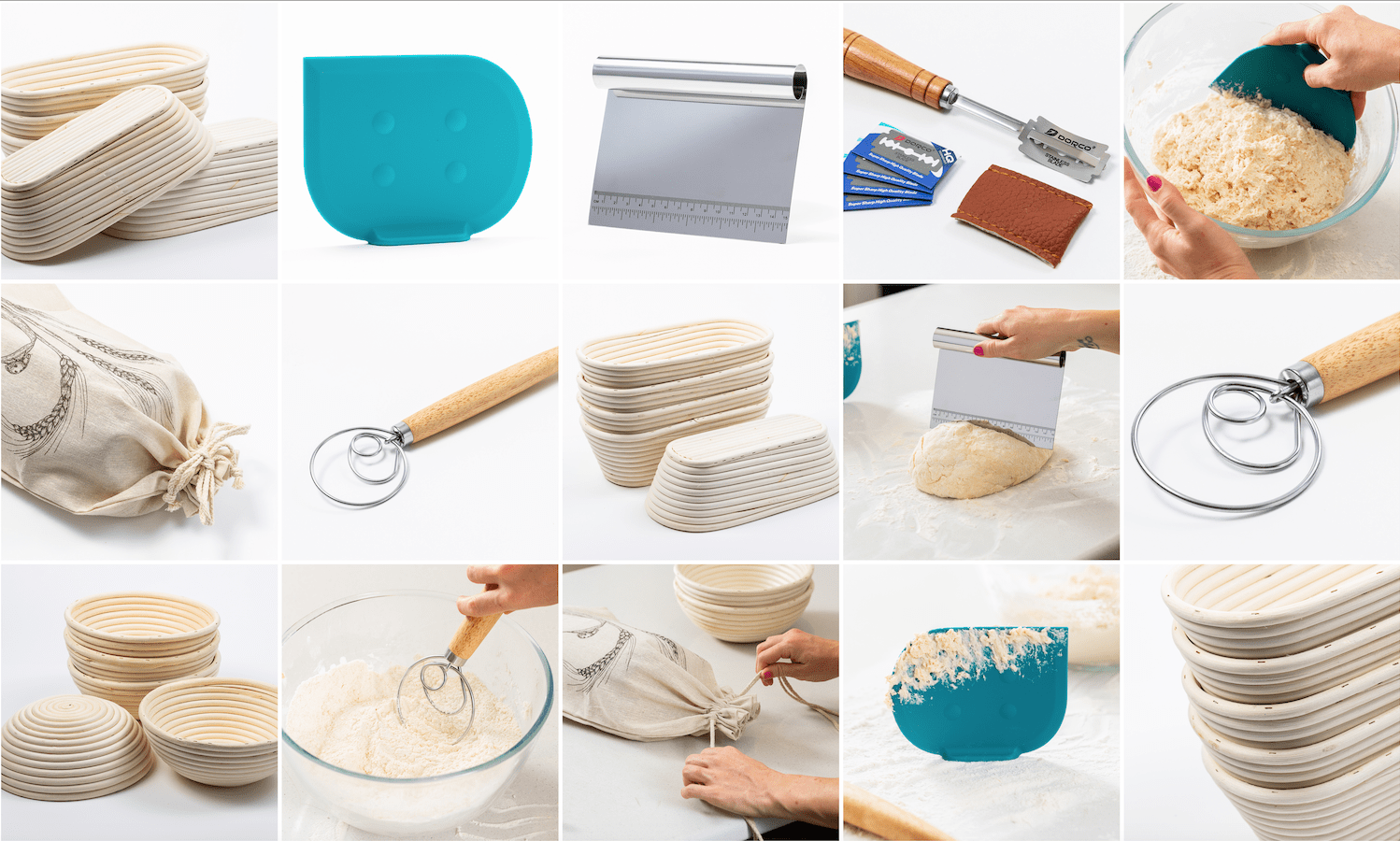 bread proofing basket and other baking tools