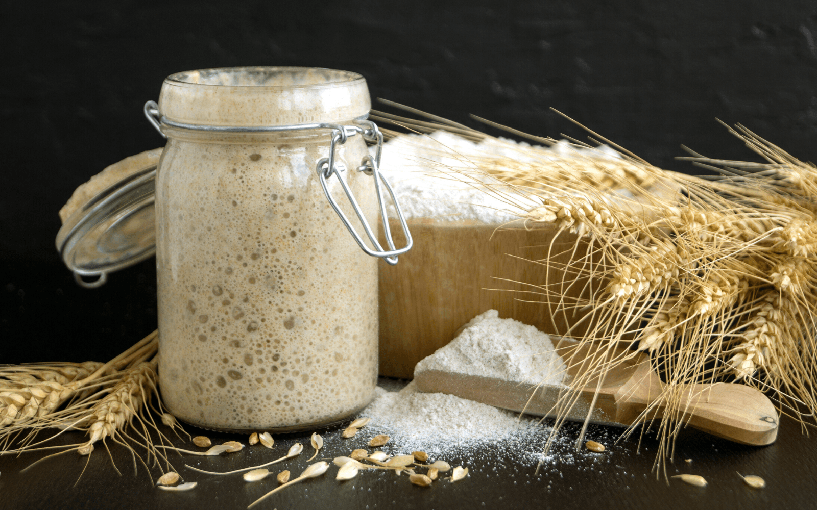 A jar of active rye flour sourdough starter